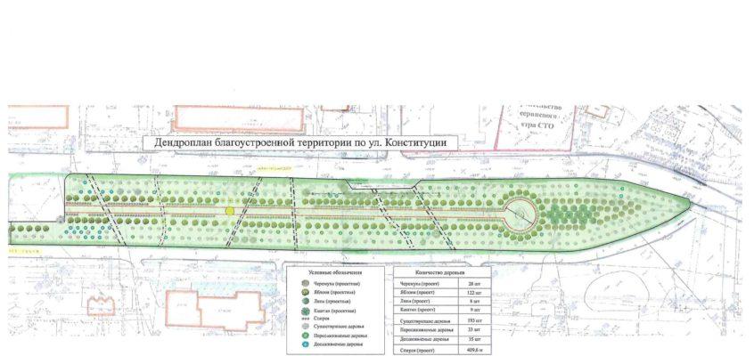 Запроектированная пешеходная дорожка и места отдыха